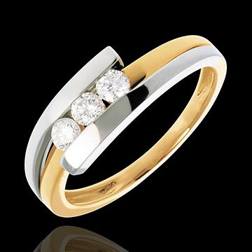 Trilogie Ring Bipolar in Weiss- und Gelbgold - 0.28 Karat - 3 Diamanten