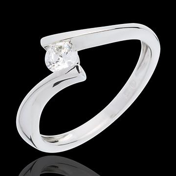 Solitär Kostbarer Kokon - Apostroph - Weißgold - Diamant 0. 26 Karat - 18 Karat