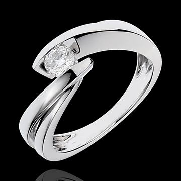 Solitärring Kostbarer Kokon - Undine - Weißgold - Diamant 0.285 Karat - 18 Karat
