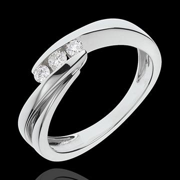 Trilogie Ring Kostbarer Kokon - Ritournelle - Weißgold - 3 Diamante - 18 Karat