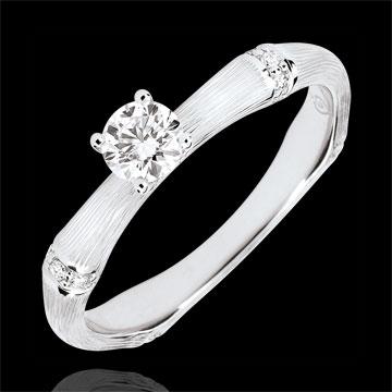 Verlobungsring Heiliger Urwald - 0.2 Karat Diamant - 18 Karat gebürstetes Weißgold