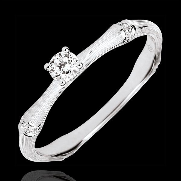Verlobungsring Heiliger Urwald - 0.09 Karat Diamant - 18 Karat gebürstetes Weißgold