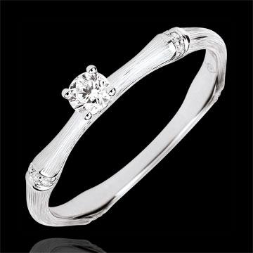 Verlobungsring Heiliger Urwald - 0.09 Karat Diamant - 9 Karat gebürstetes Weißgold