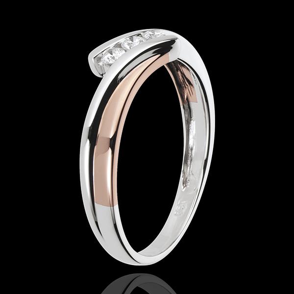 Verlobungsring Kostbarer Kokon - Diamanttrilogie - Rosé- und Weißgold - 3 Diamanten - 18 Karat