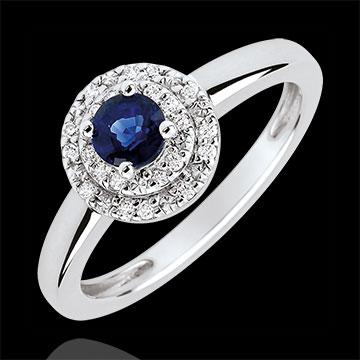 Verlovingsring Destiny - dubbele halo - Saffier 0.3 karaat en Diamanten -18 karaat witgoud
