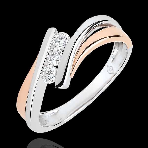 Verlovingsring Liefdesnest - Trilogie Diamant groot model - 18 karaat witgoud en rozégoud