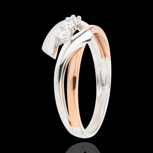 Verlovingsring Liefdesnest - Trilogie variatie - 18 karaat rozégoud witgoud - 3 Diamanten
