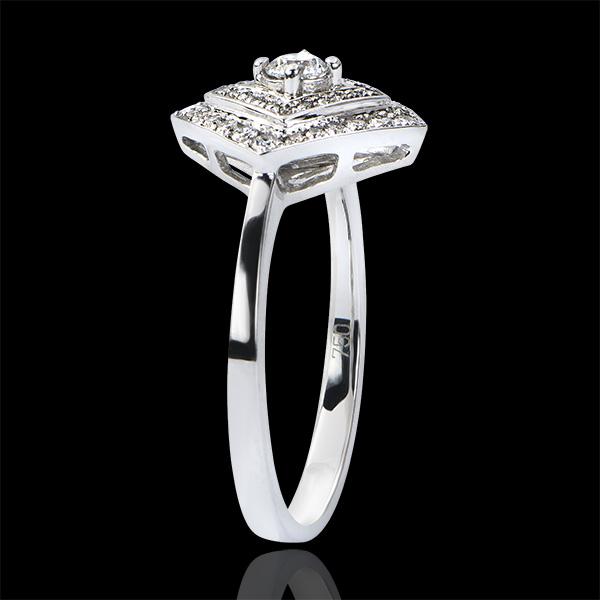 Verlovingsring Overvloed - Geometrische dubbele halo - 9 karaat witgoud met diamanten