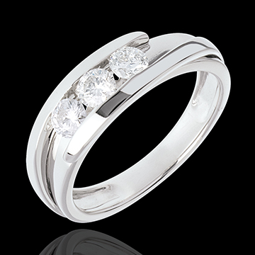 Trilogy Nid Précieux - Tweepolig - Wit Goud - 0.54 karaat - 3 Diamanten - 18 karaat
