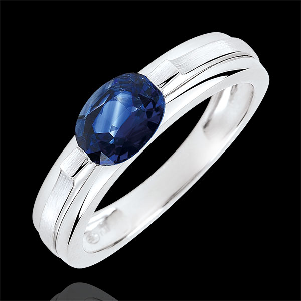 Victory Engagement Ring variation - 1 carat sapphire - white gold 18 carats