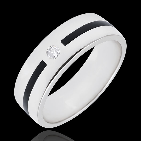 Wedding Ring Clair Obscure - Line Diamond - Large size - black lacquer - 18 carat