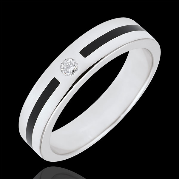 Wedding Ring Clair Obscure - Line Diamond - Small size - black lacquer - 18 carat