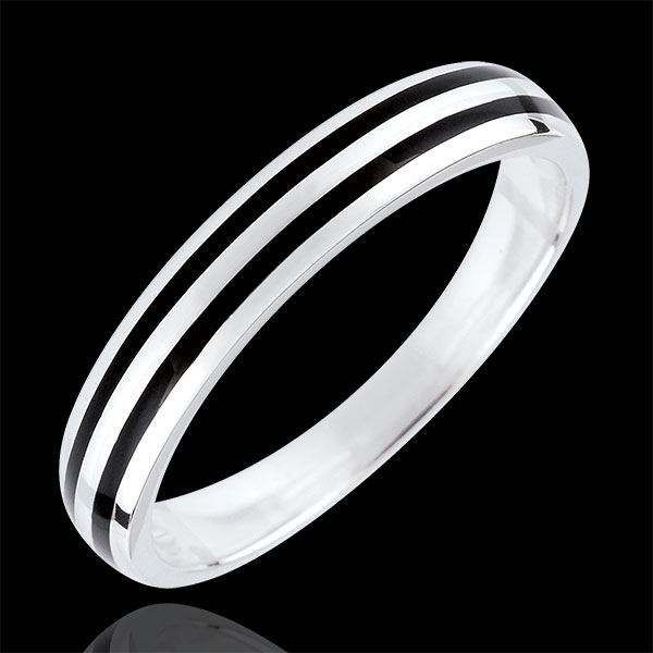 Wedding Ring Clair Obscure - Two lines - 18 carat white gold