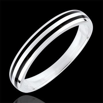 Wedding Ring Clair Obscure - Two lines - 9 carat white gold