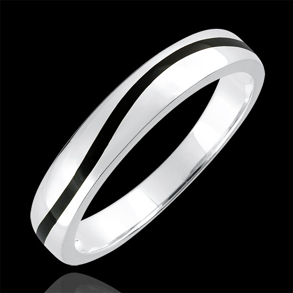 Wedding Ring Men Clair Obscure - Curve - white gold and black lacquer - 9 carat