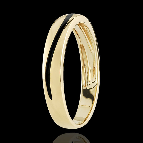 Wedding Ring Men Clair Obscure - Curve - yellow gold and black lacquer - 18 carat