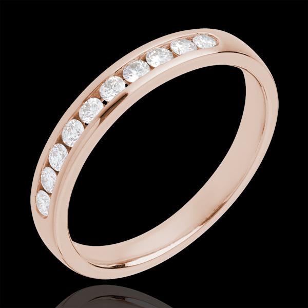 Wedding Ring - Pink gold half-paved - channel setting - 10 diamonds
