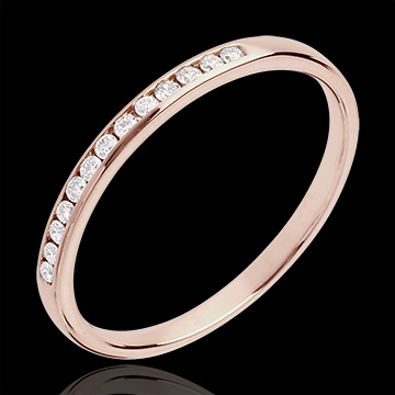 Wedding Ring - Pink gold half-paved - channel setting - 13 diamonds