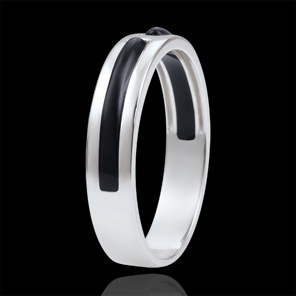 Wedding Ring Promise - all gold - black lacquer - 5mm - 18 carat