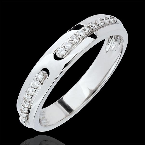 Wedding Ring Promise - white gold and diamonds - large model - 18 carat