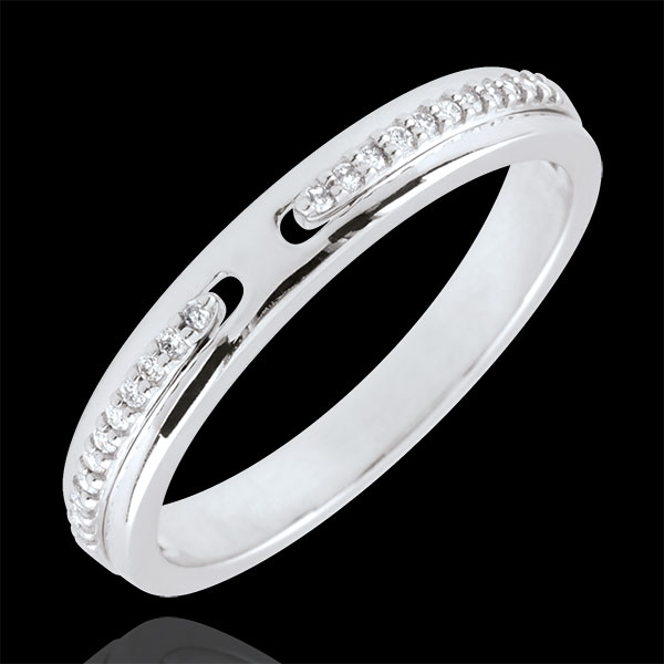 Wedding Ring Promise - white gold and diamonds - small model - 18 carat