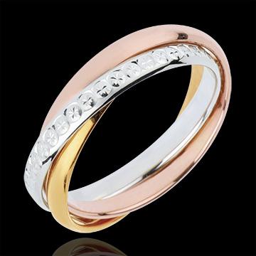 Wedding Ring Saturn Movement variation- large model - 3 golds, 3 rings