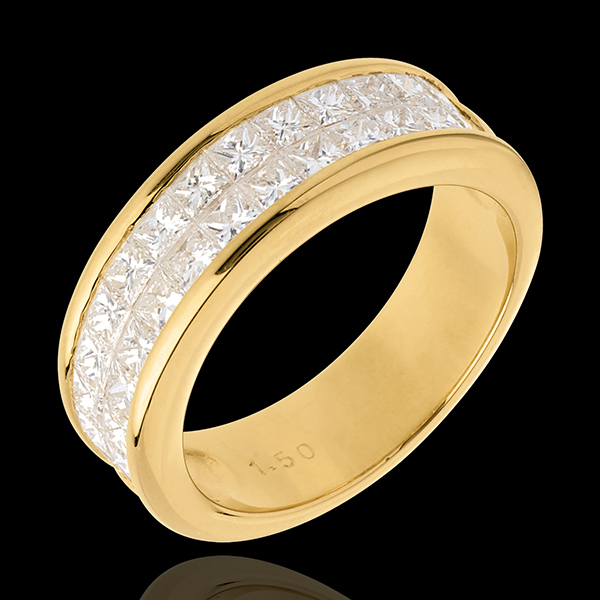Wedding ring semi paved gold-double channel setting - 1.5 carat