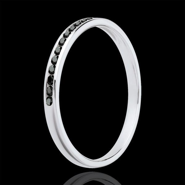 Wedding Ring - White gold half-paved black diamonds