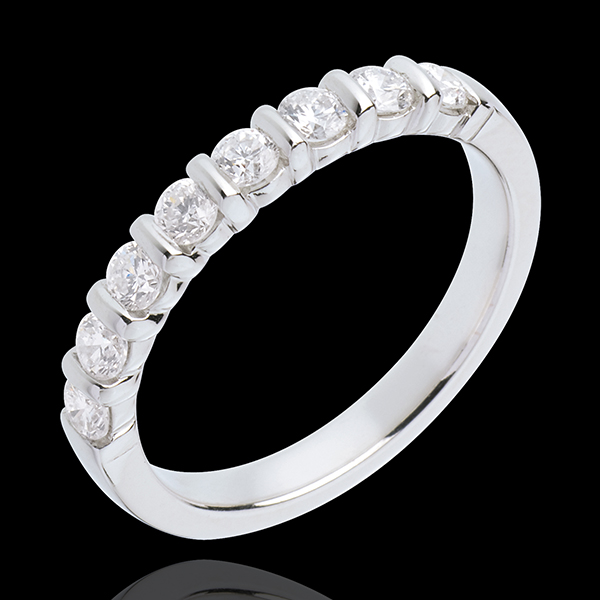 Wedding ring white gold semi paved-bar channel setting - 0.5 carat - 8 diamonds