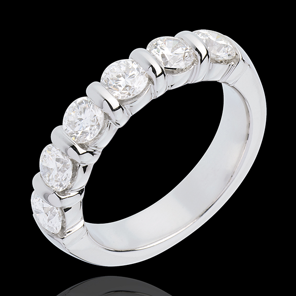 Wedding ring white gold semi paved-bar channel setting - 1.5 carat - 6 diamonds