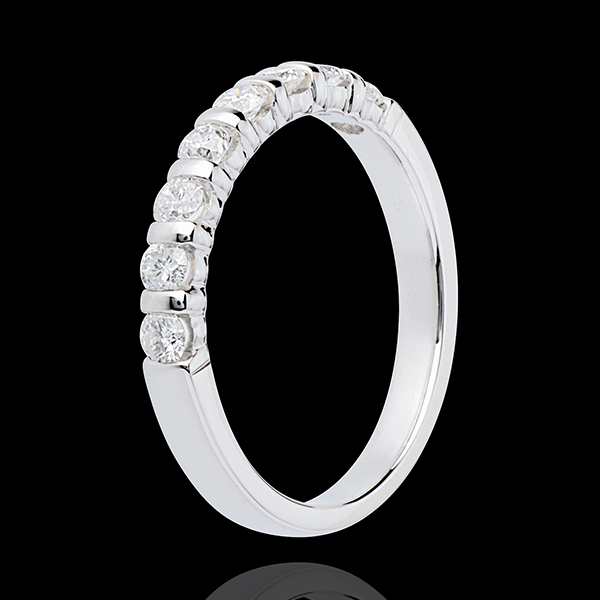 Wedding ring white gold semi paved-bar prong setting - 0.5 carat - 8 diamonds