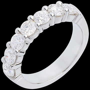 Wedding ring white gold semi paved-bar prong setting - 1.5 carat - 7 diamonds