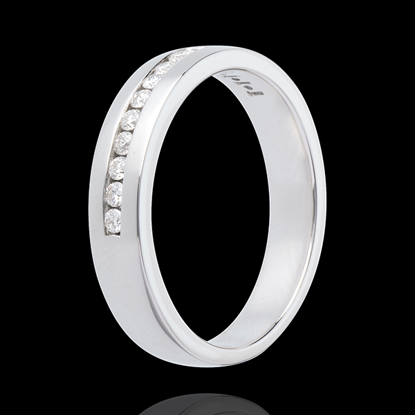 Wedding ring white gold semi-paved-channel setting - 0.21 carat - 14 diamonds