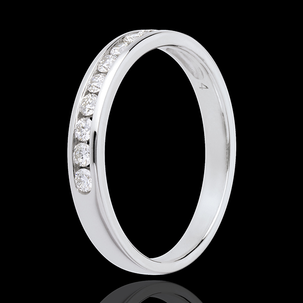 Wedding ring white gold semi-paved channel setting - 0.25 carat - 10 diamonds
