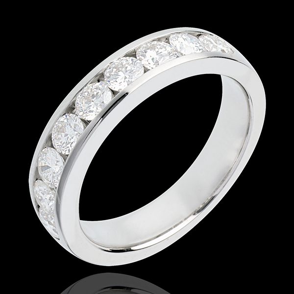 Wedding ring white gold semi-paved channel setting - 1 carat - 9 diamonds