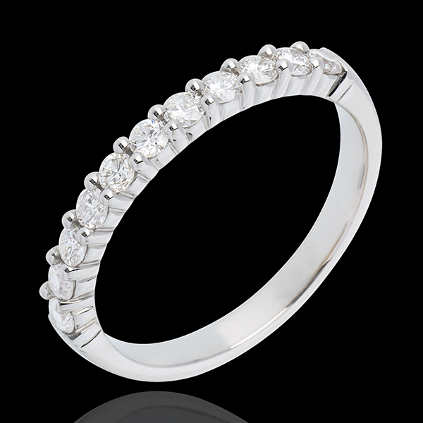 Wedding ring white gold semi paved classic prong setting - 0.4 carat - 11 diamonds