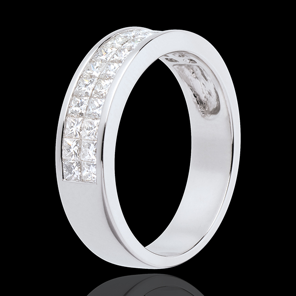 Wedding ring white gold semi paved-double channel setting - 1 carat