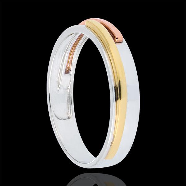 Wedding Ring White Titan - Three golds
