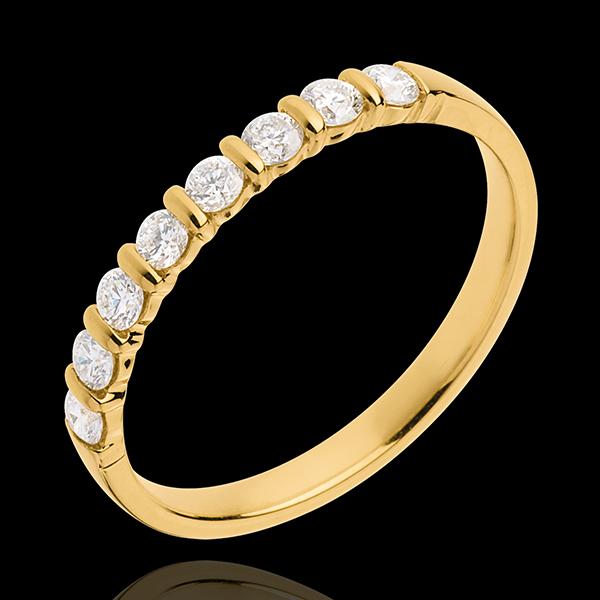 Wedding ring yellow gold semi paved-bar channel setting - 0.3 carat - 8 diamonds