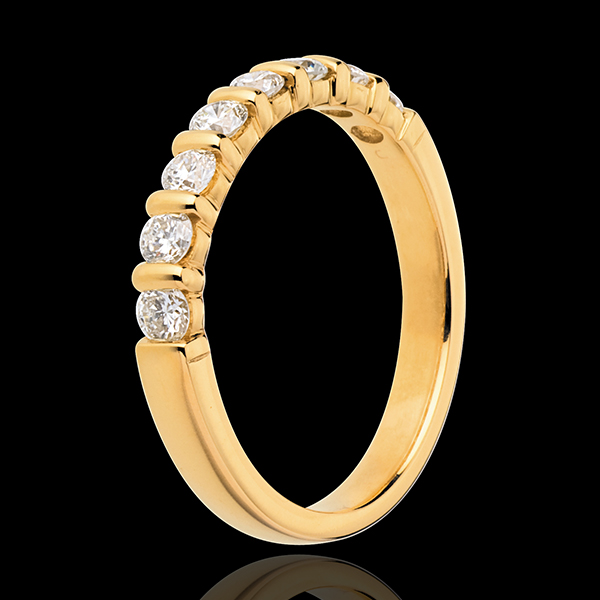 Wedding ring yellow gold semi paved-bar prong setting - 0.5 carat - 8 diamonds