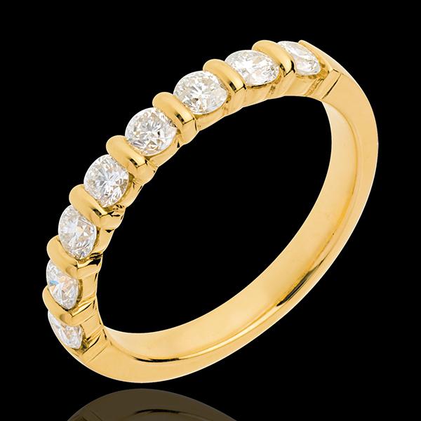 Wedding ring yellow gold semi paved-bar prong setting - 0.65 carat - 8 diamonds