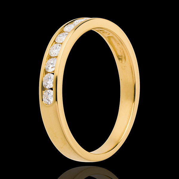 Wedding ring yellow gold semi paved-channel setting - 0.3 carat - 10 diamonds