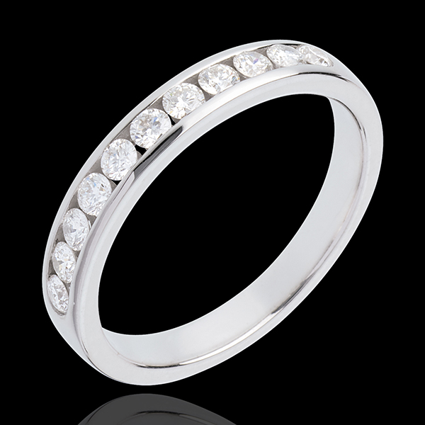 Wedding ring yellow gold semi-paved channel setting - 0.4 carat - 11 diamonds