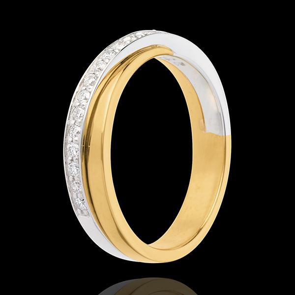 Wedding ring yellow gold-white gold semi-paved - 17 diamonds
