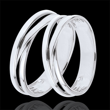 Wedding Rings Duo Saturn Trilogy variation - White gold - 9 carats