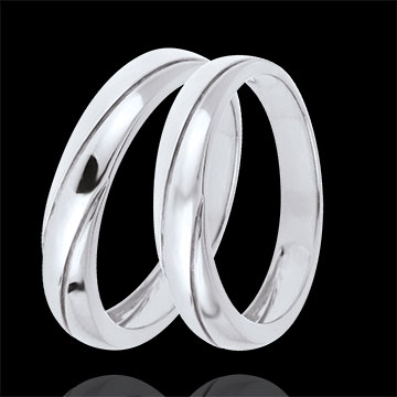 Wedding Rings Duo Saturn Trilogy -White gold - 9 carats