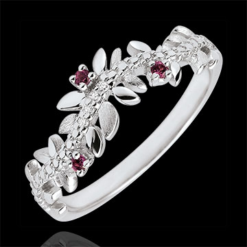 Enchanted Garden Ring - Royal Foliage- White gold, diamonds and rhodolites - 9 carats