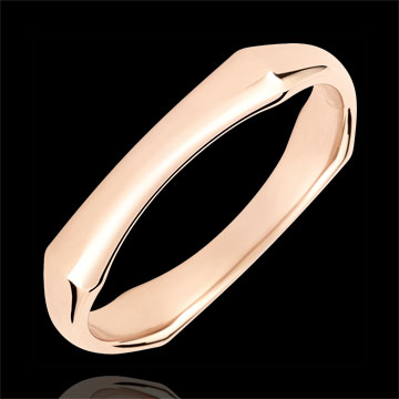 Jungle Sacrée wedding ring - 4 mm - pink gold 9 carats