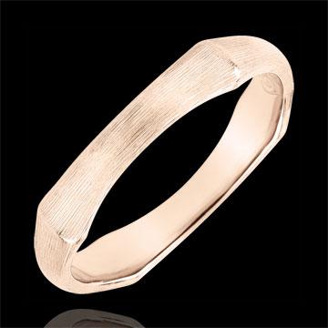 Jungle Sacrée wedding ring - 4 mm - brushed pink gold 9 carats