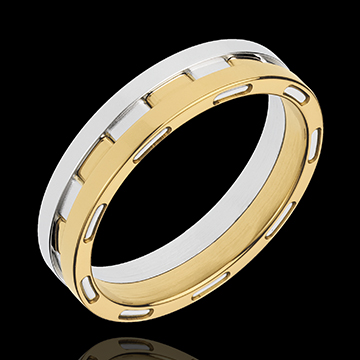 White and Yellow Gold Science Fiction Wedding Ring Edenly jewelery